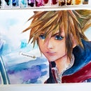 KINGDOM HEARTS 3 SORA WATERCOLOR PAINTING