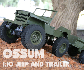 3D Printed MB Jeep and M416 Trailer in 1:10 Scale
