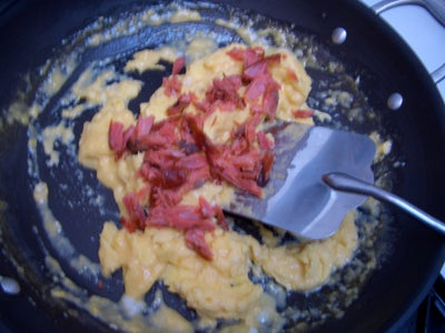 Add Salmon to the Eggs.