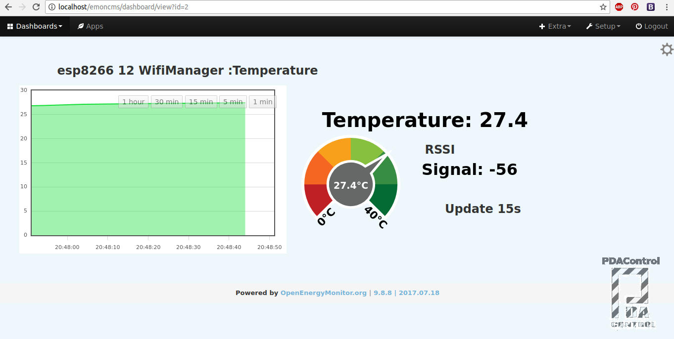 Picture of WifiManager + Emoncms  First Tests + ESP8266