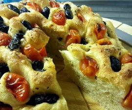 Apuglian Focaccia Soft Bread With Olives and Cherry Tomatoes