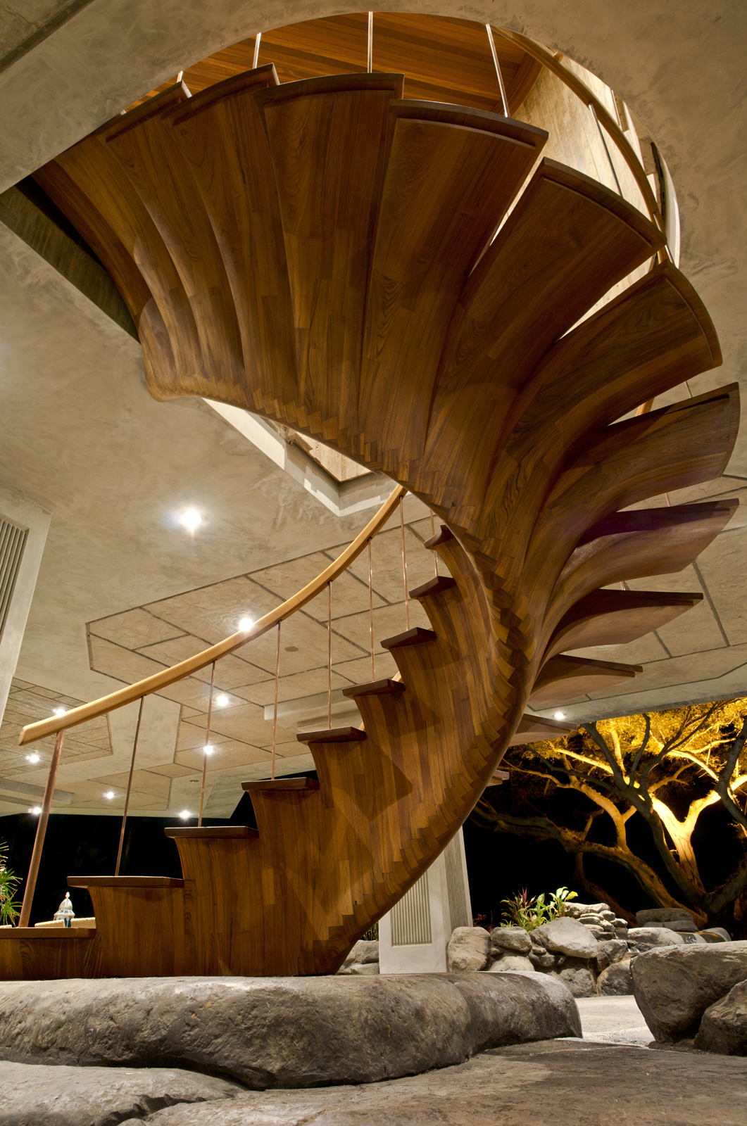 Picture of Inlayed Wood Scales on Spiral Staircase