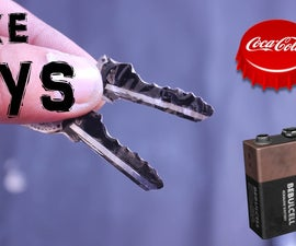 Make Emergency Metal Spare Key With 9V Battery Or coca cola Cap Improved Version to plastic