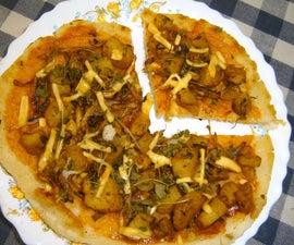 Rice Flour Crust (Orotti) Pizza with Aloo(Potato) Masala
