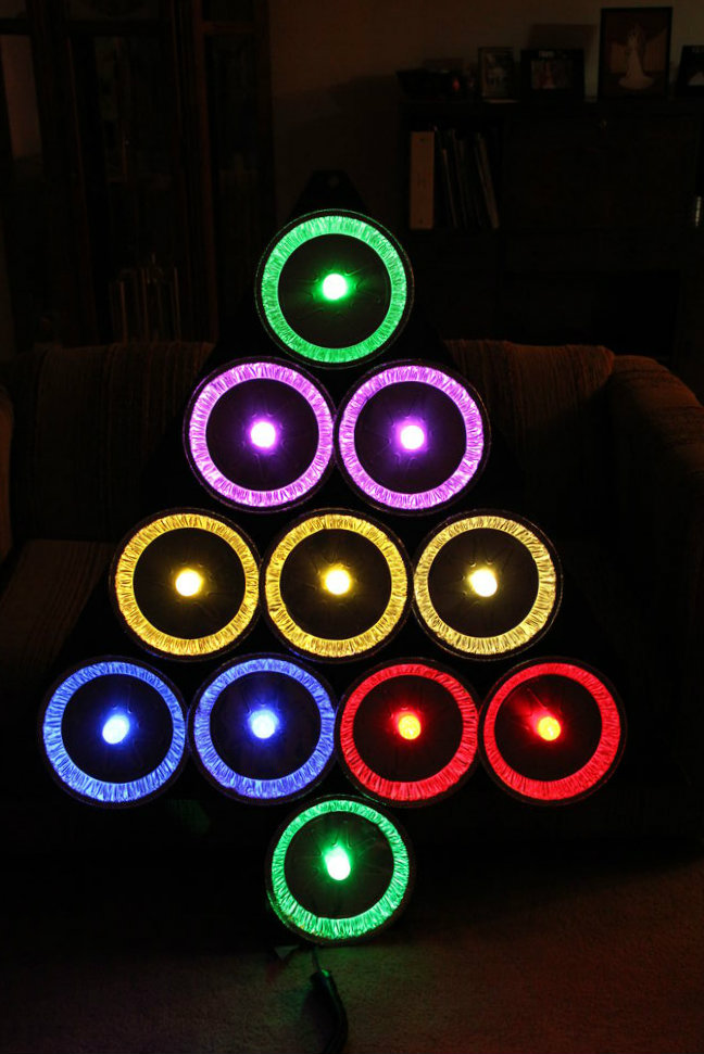 Picture of Pie Tin Christmas Tree With GE Color Effects LED Lights