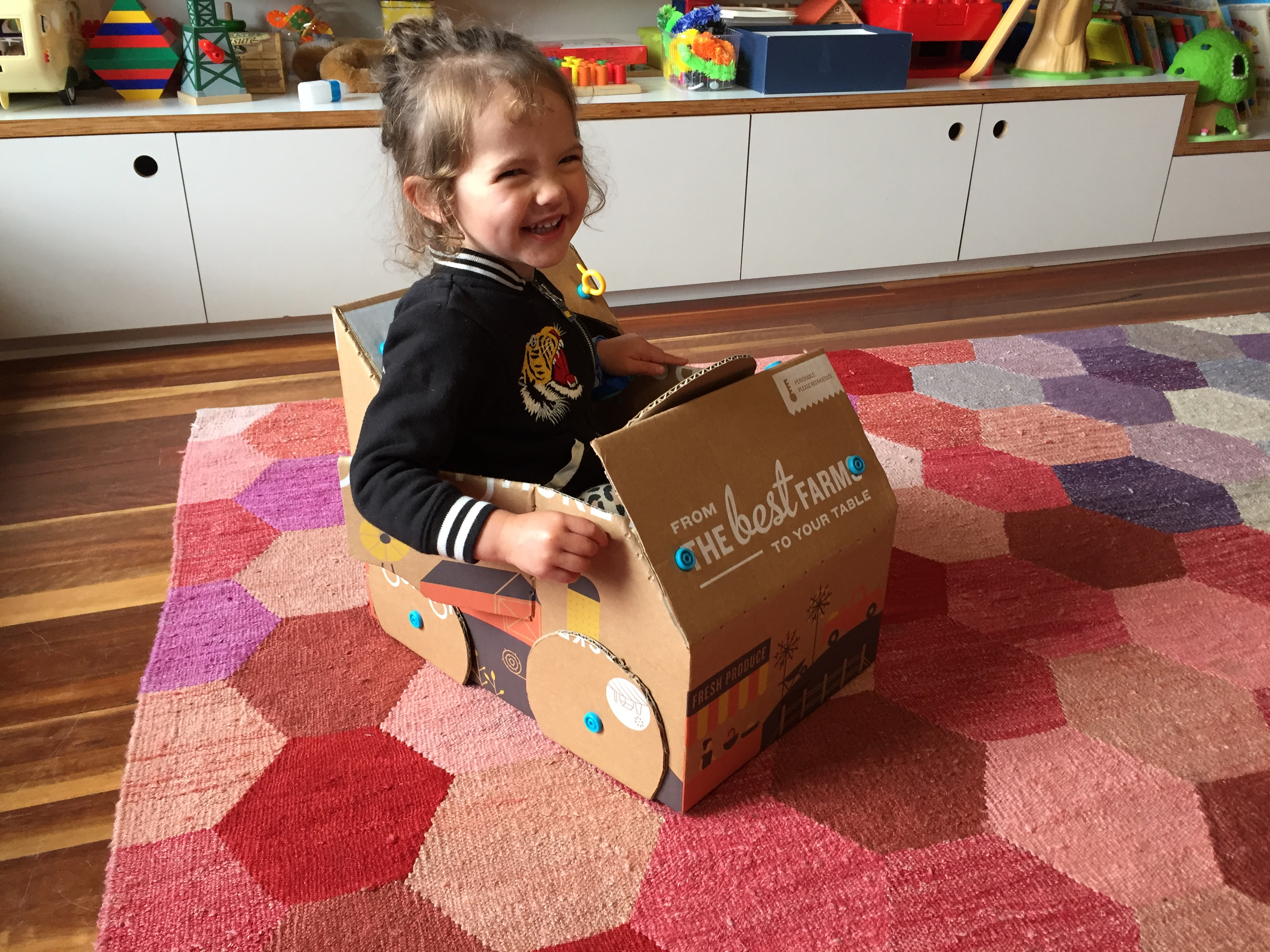 Picture of Makedo Car From a Sun Basket Box