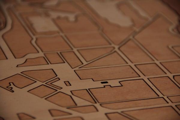 Street Map Wood Inlay