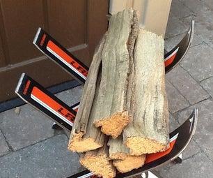Repurposed Ski- Firewood Rack