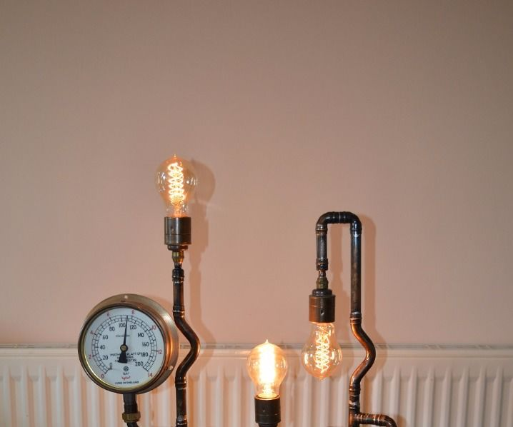 the stephanotis steampunk nixie tube bedside companion iron pipe furniture l