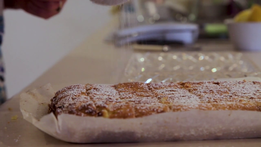 Cut Into Bars and Dust With Icing Sugar Just Before Serving.