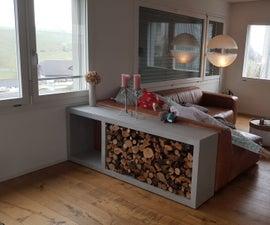 Wooden Firewood-shelf That Looks Like Concrete