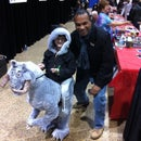 Han Solo riding on a Tauntaun costume.