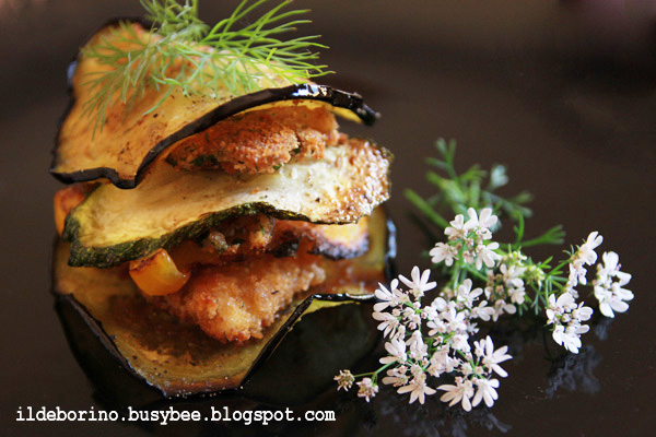 Picture of Fried Vegetables and Breaded Fish Fillets Stacks