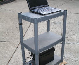 Portable 12V notebook stand workstation for garage or shop