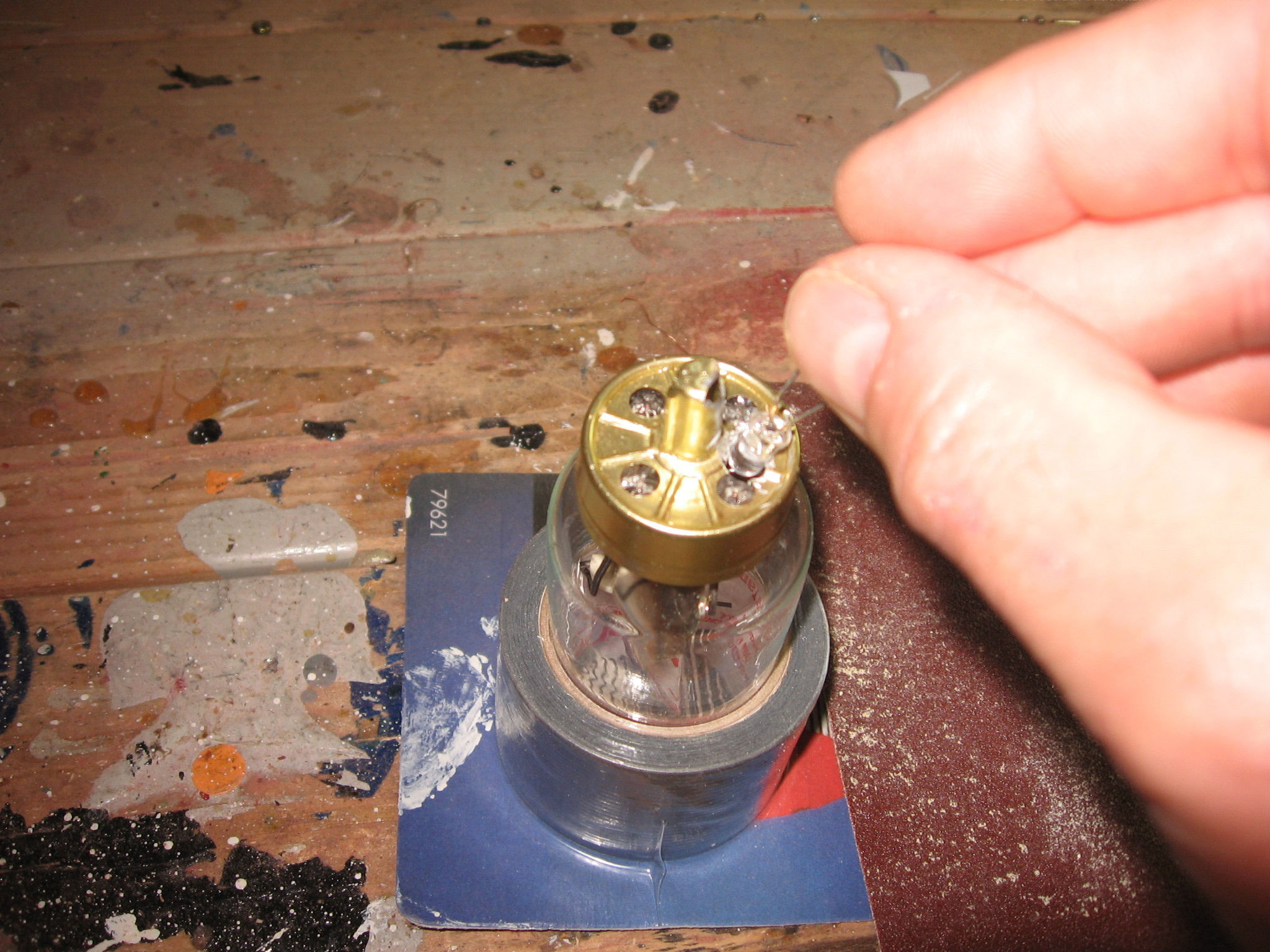 Picture of Installing the LED's Into the Vacuum Tubes