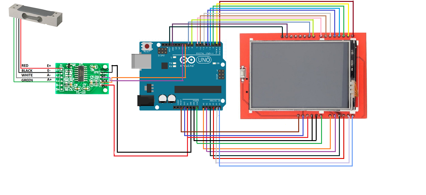 Picture of Connecting the TFT & Load Cell With Arduino