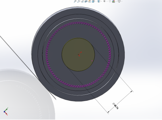 """Picture of Sketch a Circle With Diameter 48.76mm in the Center of the Front Plane and """"Extrude Cut"""" Downward 4mm Into the Gear"""