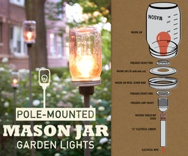 Pole-Mounted Mason Jar Garden Lights