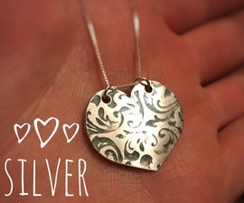 999. Fine Silver Heart Pendant From Clay!!!