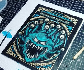 Monster Manual Cover Art Made From Wood and Resin