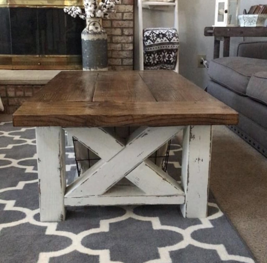 Picture Of Chunky Farmhouse Coffee Table Picture Of Chunky Farmhouse Coffee  Table