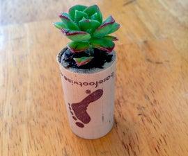 Mini planters from wine corks