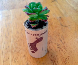 Mini planters from wine corks