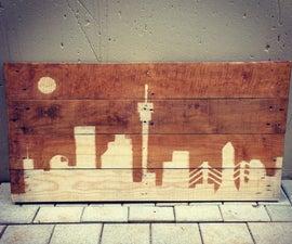 City Skyline Pallet Art