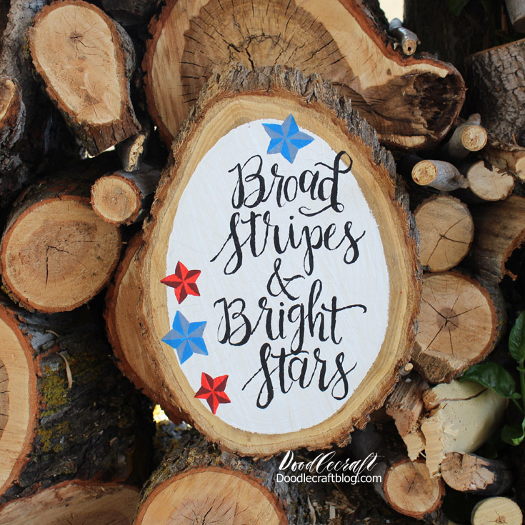 Picture of Stars and Stripes Patriotic Wood Slice!