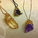 """DIY Faux """"Gold- Dipped"""" Crystal and Druzy Charms for Jewelry"""