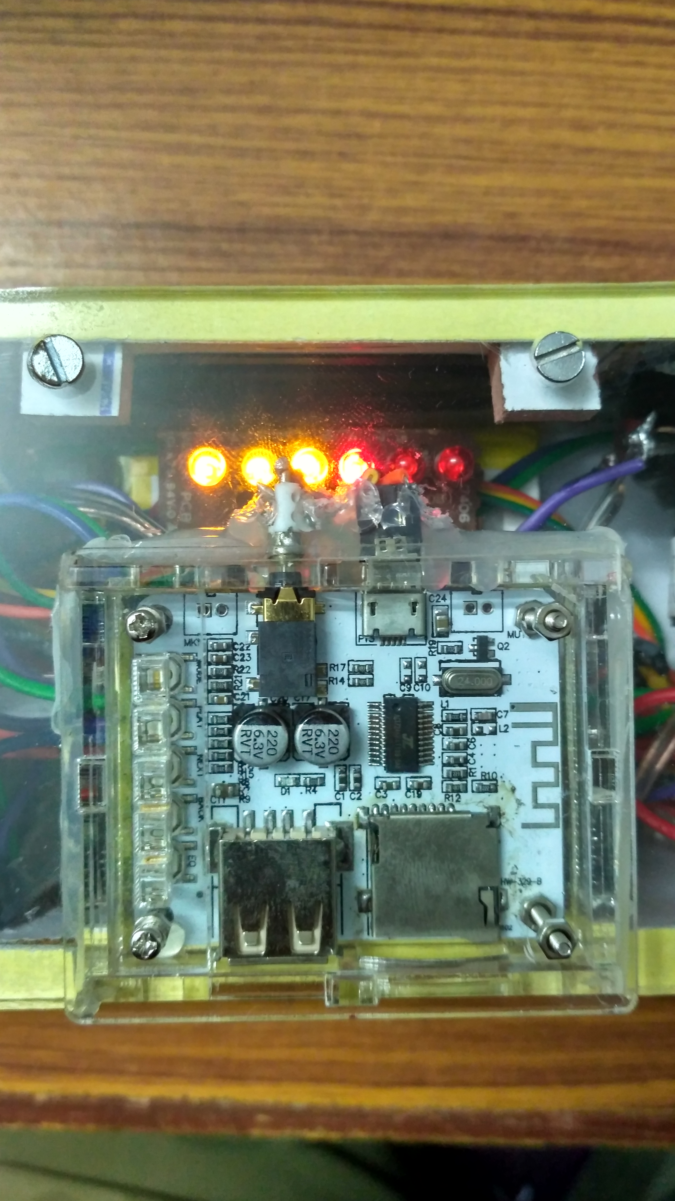 Picture of Connecting the Audio Receiver Board:-