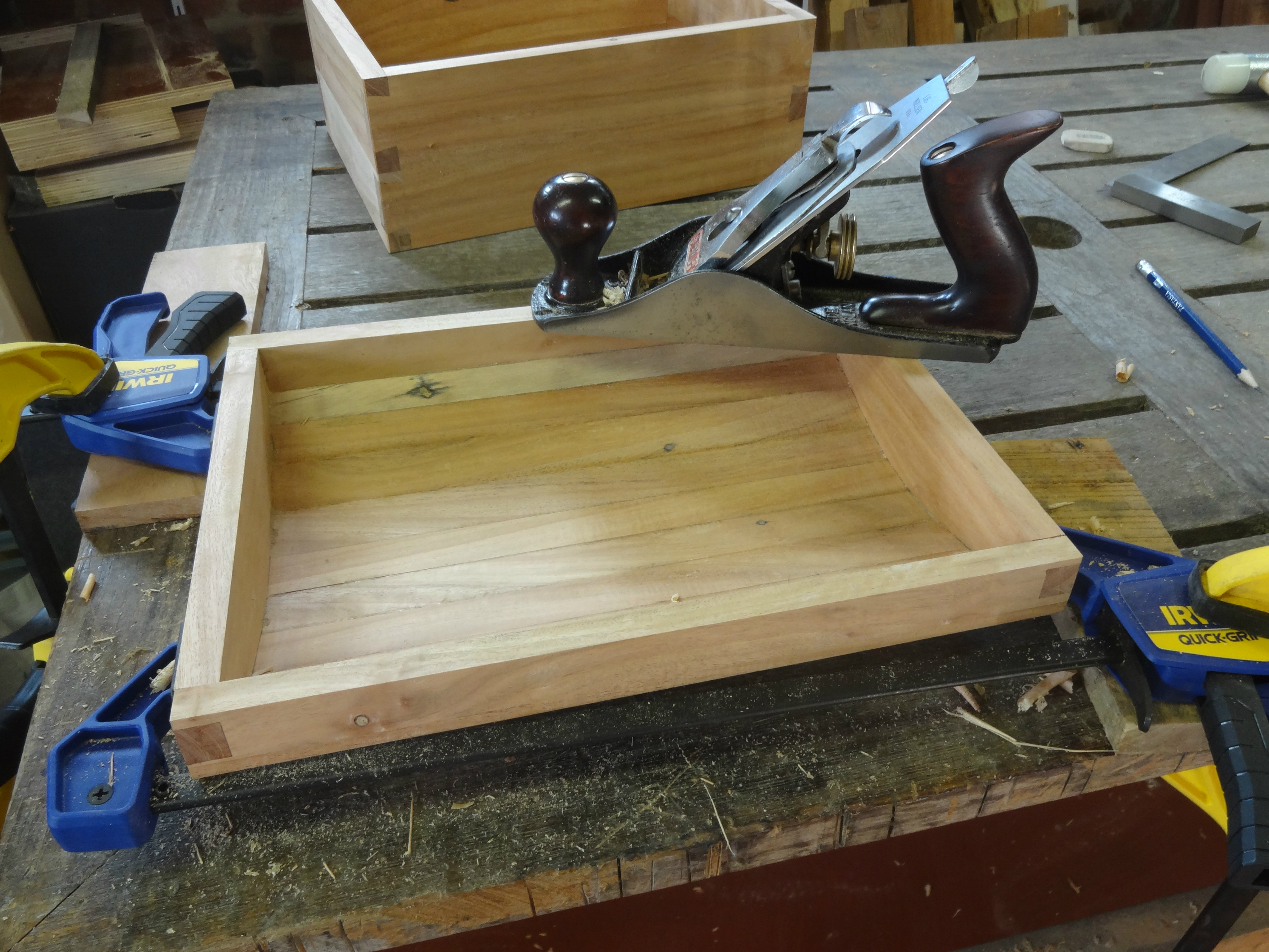 Picture of Planing Rim of Lid Flush, Trimming Dovetail Joints