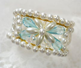 How to Make a Wide Pearl Bead Bangle Bracelet at Home