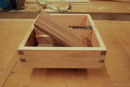 Secret Compartment Box With Silver Inlay