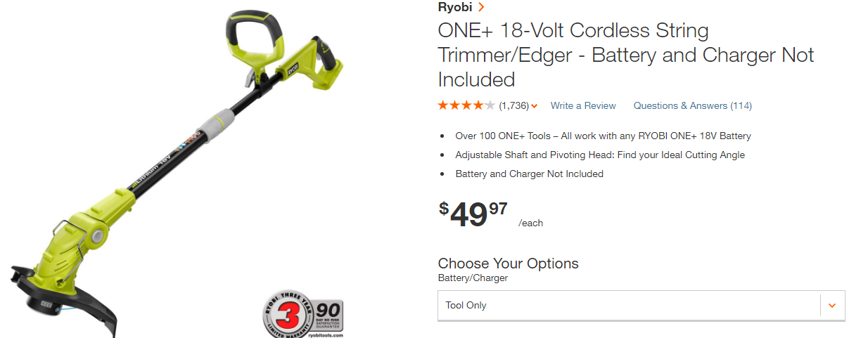 Picture of Reversible Direction DC Electric String Trimmer