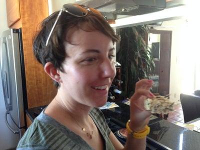 Fran Enjoying Her First Rice Crispy Critter Treat!
