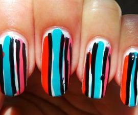 1 MIN TUTORIAL: Colorful Stripes Nail Art Design
