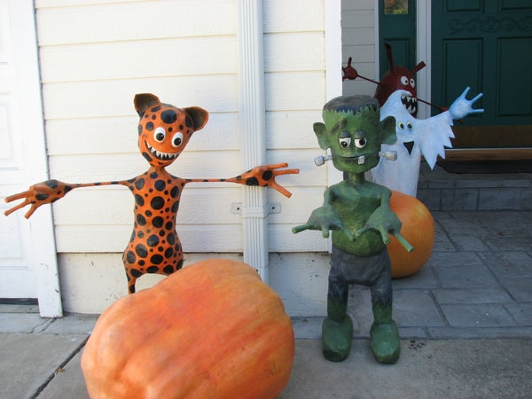 Creepy Paper Mache' Creatures With Homegrown Pumpkins