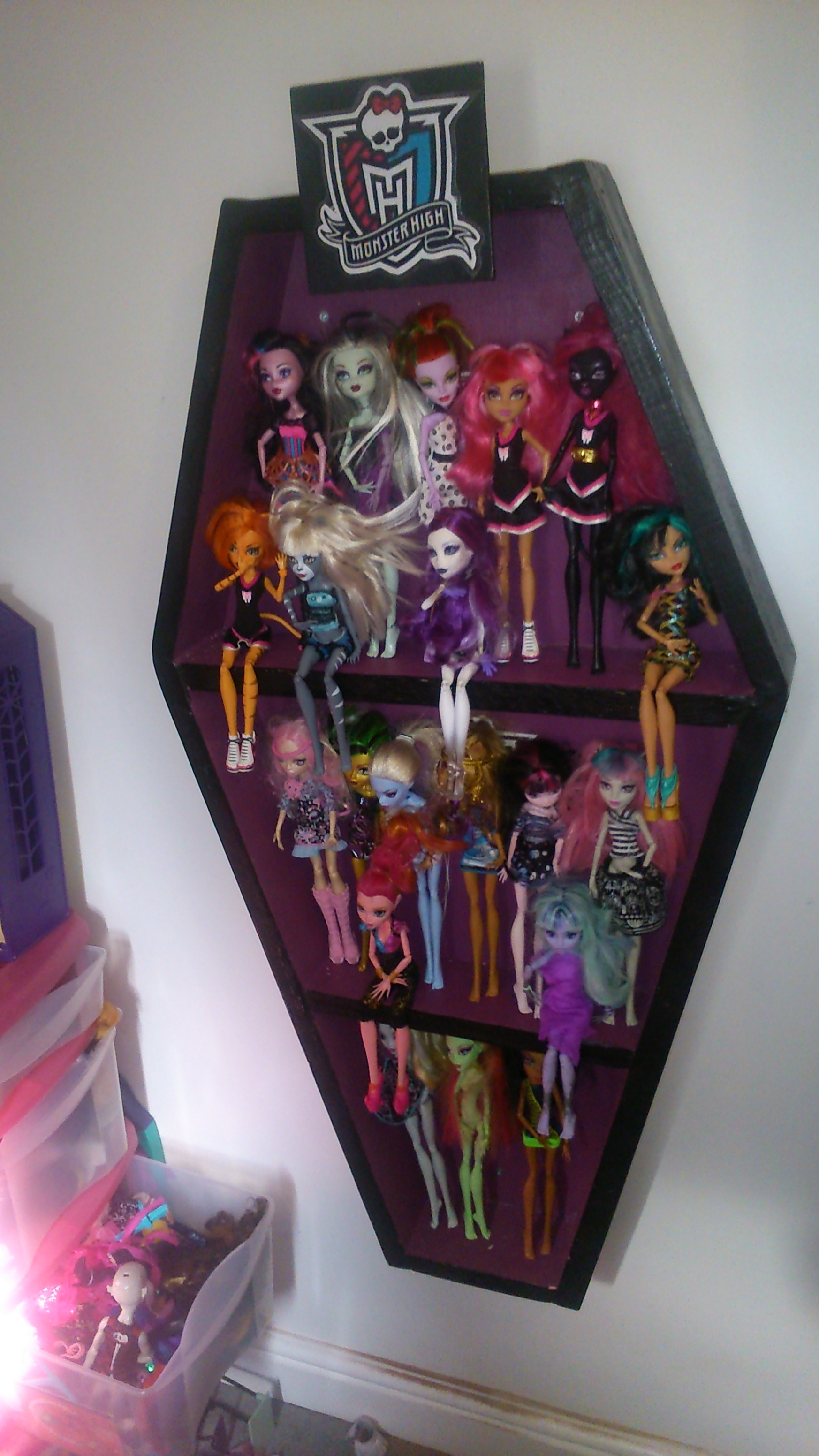 Picture Of Monster High Doll Display Cabinet In The Shape Of A Coffin ...