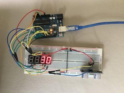 Arduino Ultrasonic Distance Meter With 7 Segment Display.