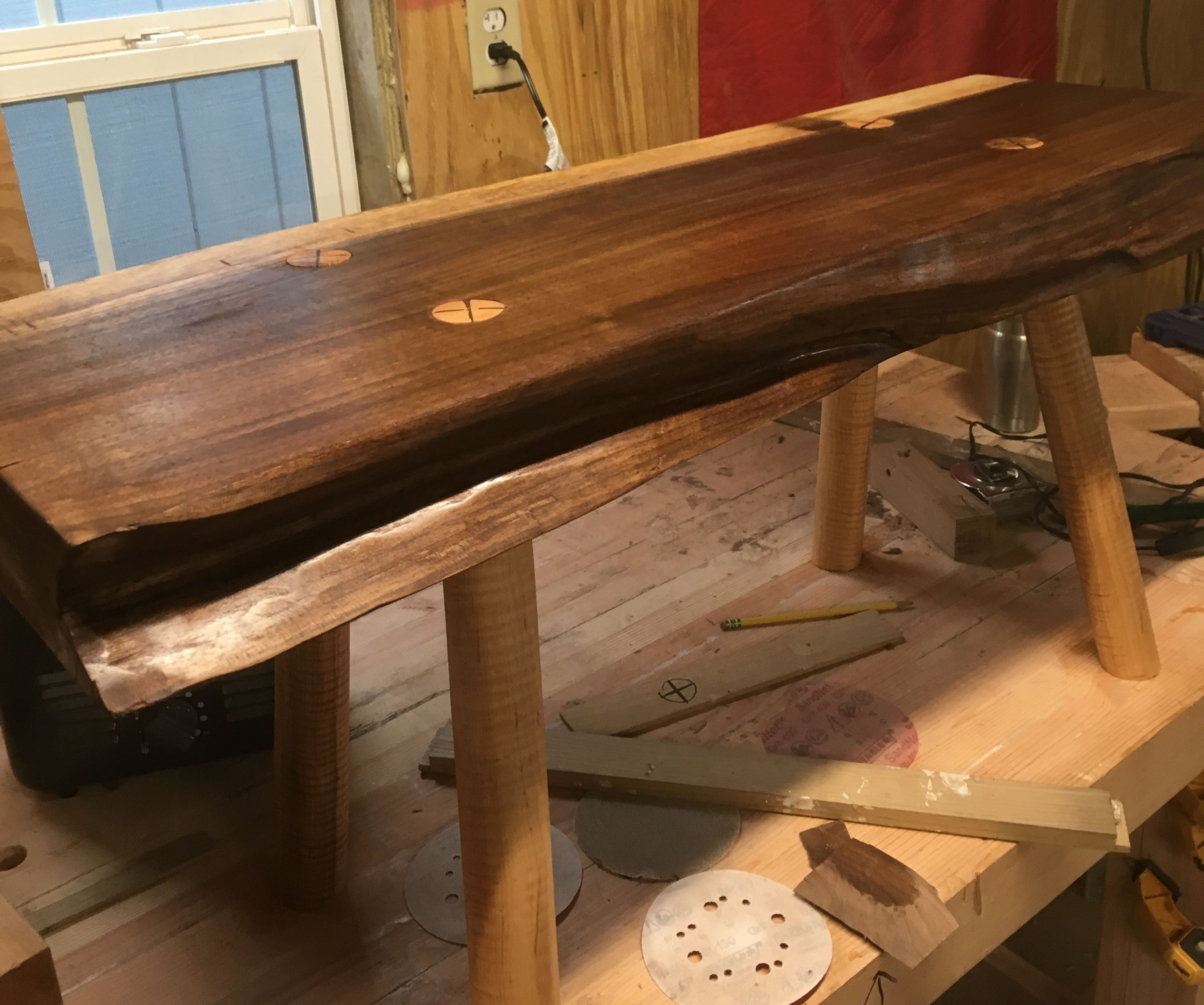 Strange Black Walnut And Curly Maple Live Edge Bench 6 Steps With Evergreenethics Interior Chair Design Evergreenethicsorg