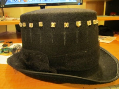 Sewing the Leds to the Hat
