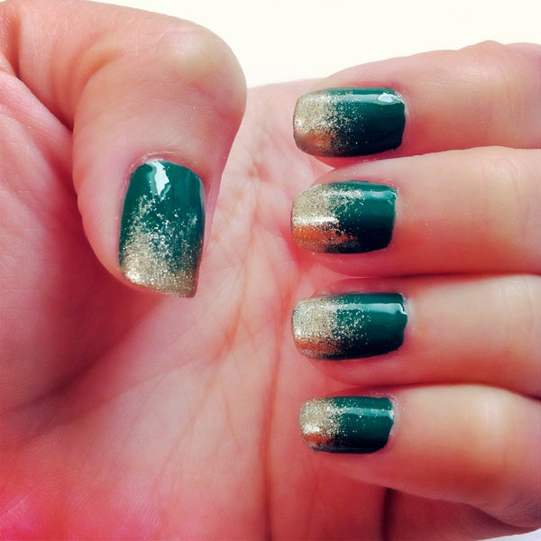 Emerald and Gold Sponged Tip Manicure - Natalie's Creations