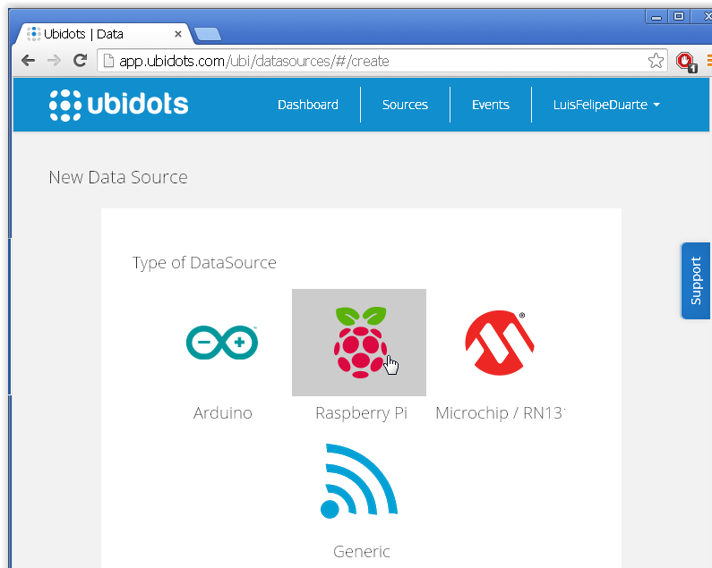 Picture of Select Raspberry Pi As Your New Data Source and Fill the Form.