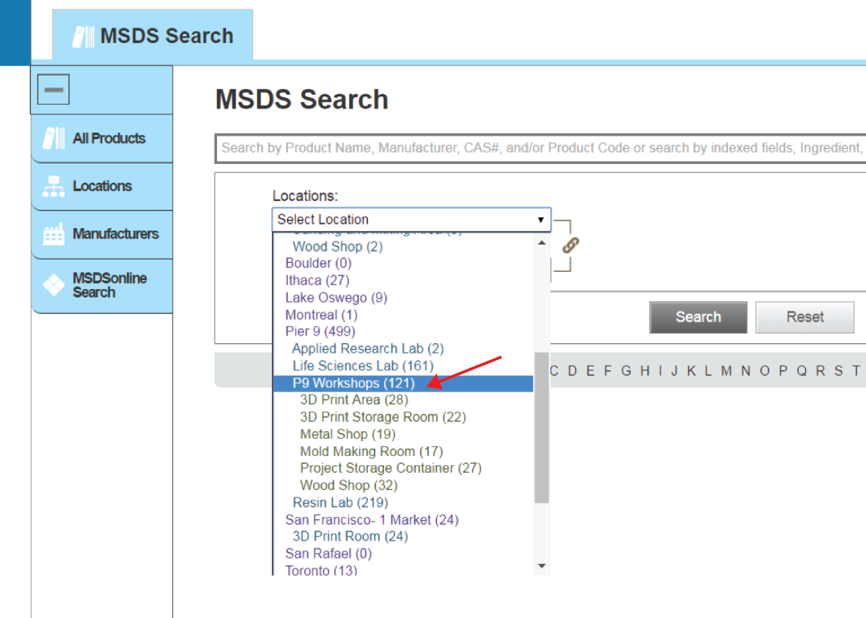 Picture of Searching With the MSDS Online Website