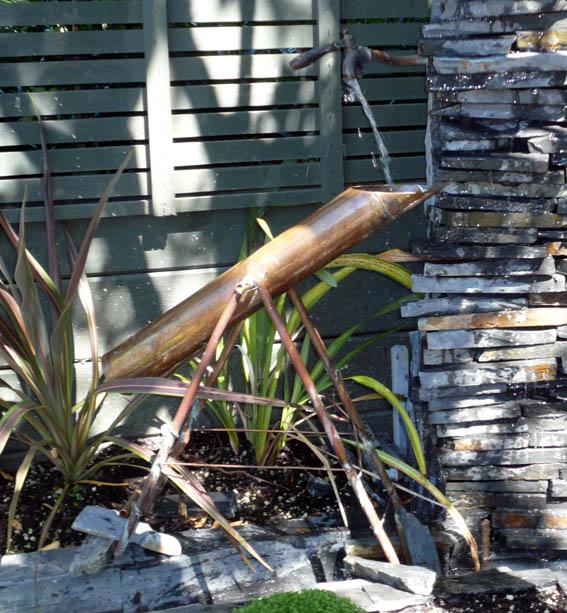 Picture of Copper Deer Scarer (Shishi Odoshi) for an Urban Garden