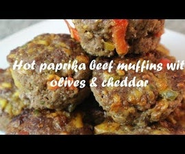 Hot Paprika Beef Muffins With Olives & Cheddar Recipe