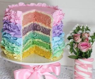 Pastel Rainbow Ruffle Cake