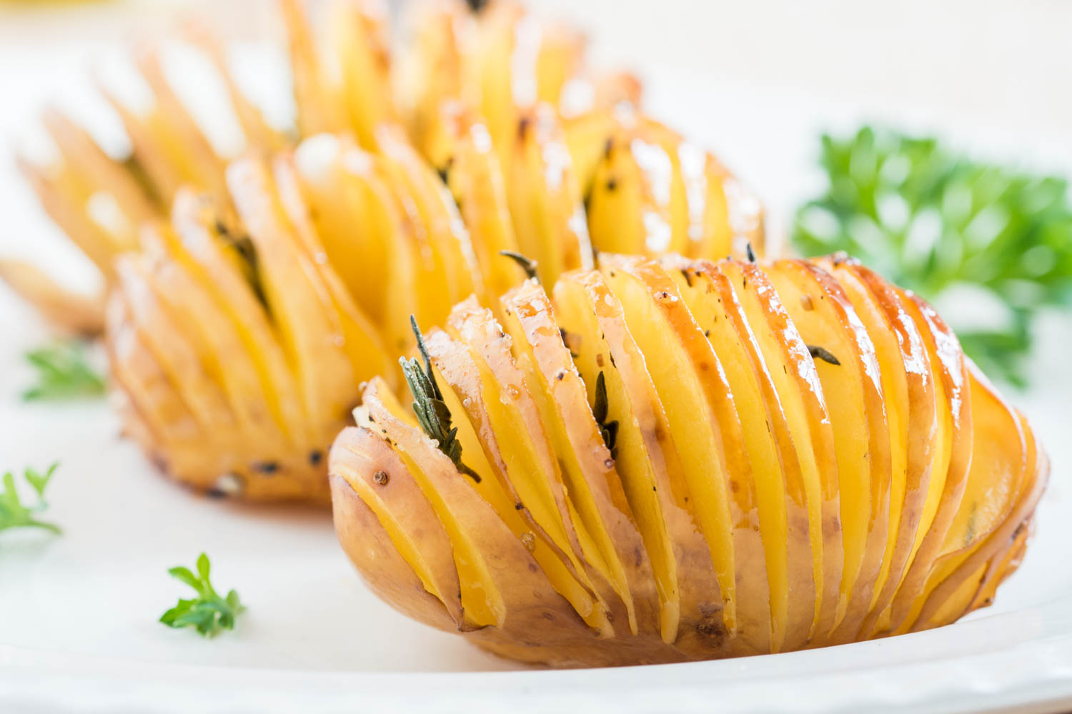 Picture of Garlic - Thyme Hasselback Potatoes