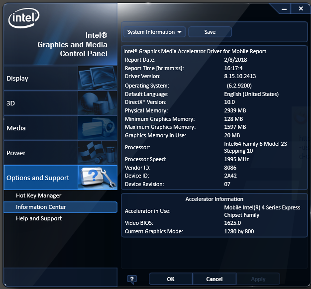Picture of Intel Graphics Media Accelerator Driver Windows 10 64bits 151717